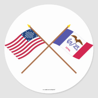 Crossed US 29-star and Iowa State Flags Classic Round Sticker