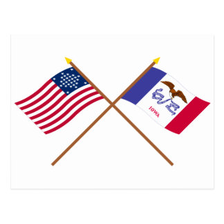 Crossed US 29-star and Iowa State Flags Postcard