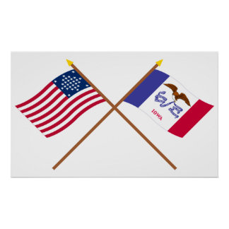 Crossed US 29-star and Iowa State Flags Poster