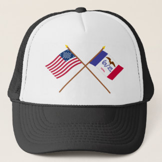 Crossed US 29-star and Iowa State Flags Trucker Hat