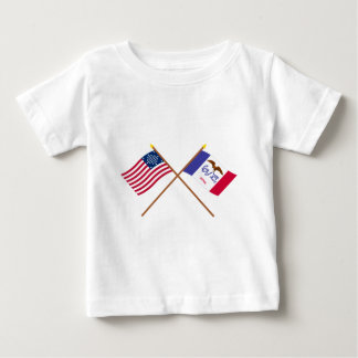 Crossed US 29-star and Iowa State Flags Infant T-shirt