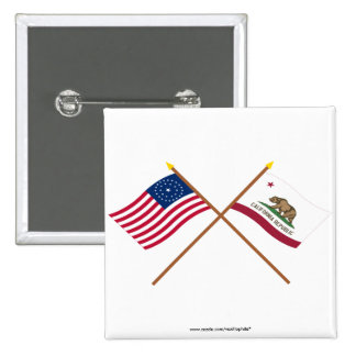 Crossed US 31-star and California State Flags Pins