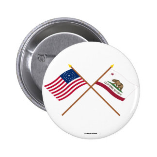 Crossed US 31-star and California State Flags Button