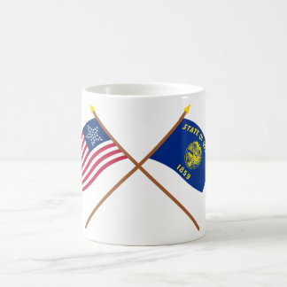 Crossed US 33-star and Oregon State Flags Coffee Mug