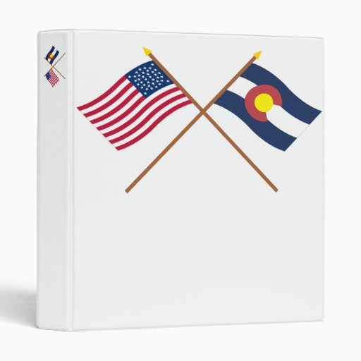 Crossed US 38-star and Colorado State Flags Binder