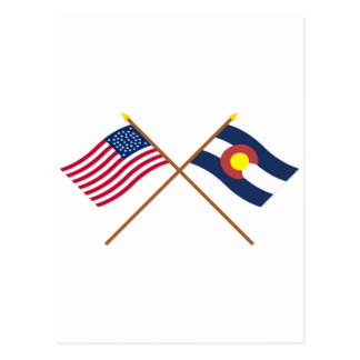 Crossed US 38-star and Colorado State Flags Postcard