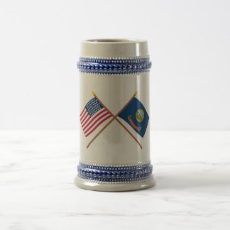 Crossed US 43-star and Idaho State Flags Beer Stein