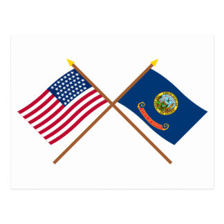 Crossed US 43-star and Idaho State Flags Postcard