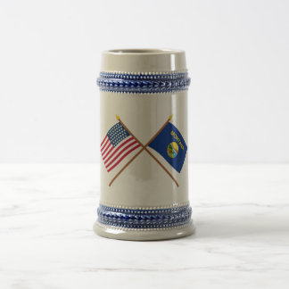 Crossed US 43-star and Montana State Flags Beer Stein