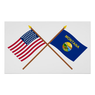 Crossed US 43-star and Montana State Flags Posters