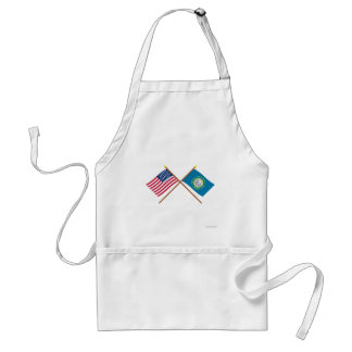 Crossed US 43-star and South Dakota State Flags Adult Apron