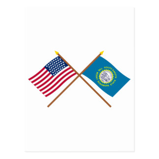 Crossed US 43-star and South Dakota State Flags Postcard