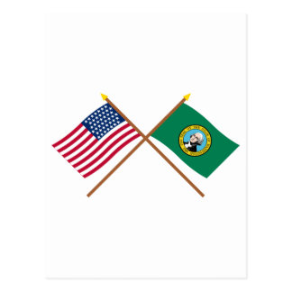 Crossed US 43-star and Washington State Flags Postcard