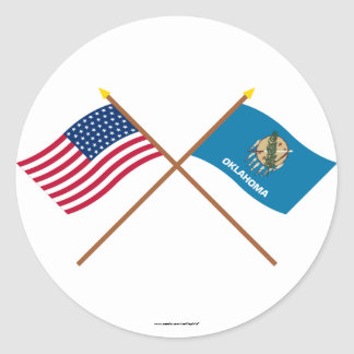 Crossed US 46-star and Oklahoma State Flags Classic Round Sticker