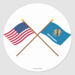 Crossed US 46-star and Oklahoma State Flags Stickers