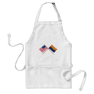 Crossed US 48-star and Arizona State Flags Aprons