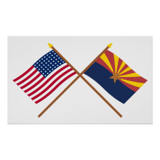 Crossed US 48-star and Arizona State Flags Poster