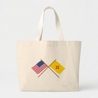 Crossed US 48-star and New Mexico State Flags Tote Bags