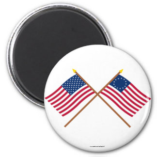 Crossed US 50 and 13-star Flags 2 Inch Round Magnet