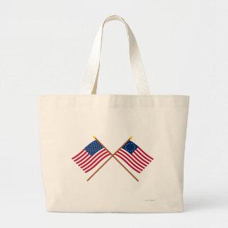 Crossed US 50 and 13-star Flags Jumbo Tote Bag
