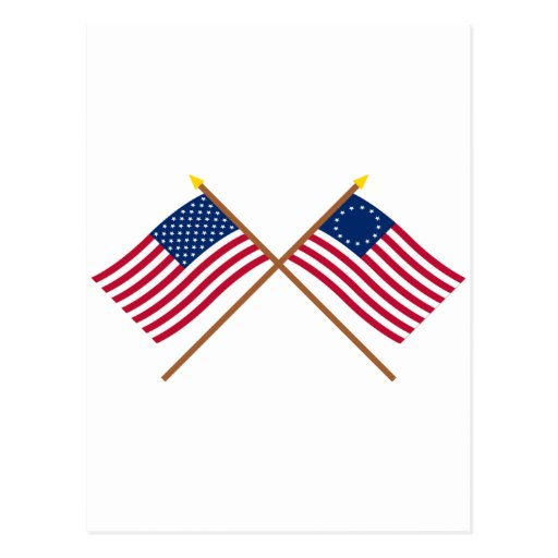 Crossed US 50 and 13-star Flags Postcard