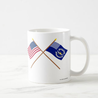 Crossed US and 2nd Regiment Light Dragoons Flags Coffee Mug
