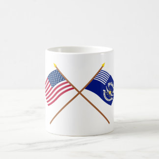 Crossed US and 2nd Regiment Light Dragoons Flags Mug