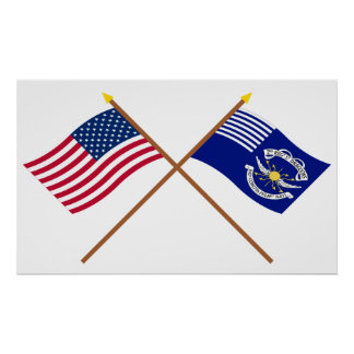 Crossed US and 2nd Regiment Light Dragoons Flags Poster