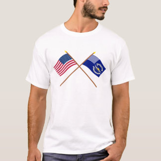 Crossed US and 2nd Regiment Light Dragoons Flags T-Shirt