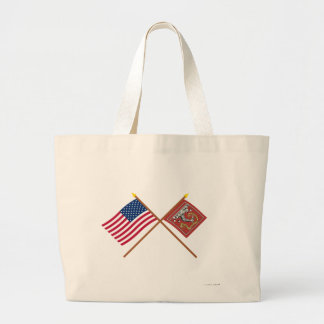 Crossed US and Bedford Flags Tote Bags