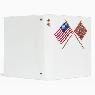 Crossed US and Bedford Flags Binder