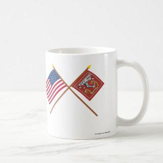 Crossed US and Bedford Flags Coffee Mug