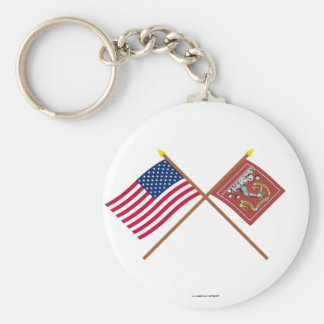 Crossed US and Bedford Flags Basic Round Button Keychain