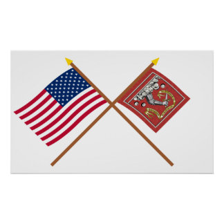 Crossed US and Bedford Flags Posters