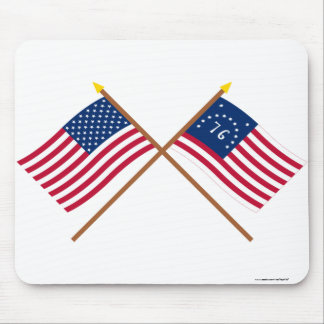 Crossed US and Bennington Flags Mouse Pad