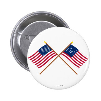 Crossed US and Bennington Flags Pinback Button