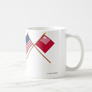 Crossed US and Brandywine Flags Coffee Mug