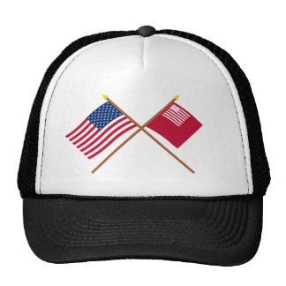 Crossed US and Brandywine Flags Trucker Hats