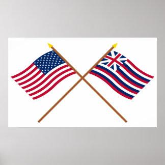 Crossed US and Brigantine Lexington Flags Poster