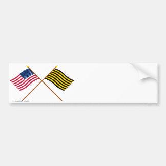 Crossed US and Brigantine Reprisal Flags Bumper Stickers