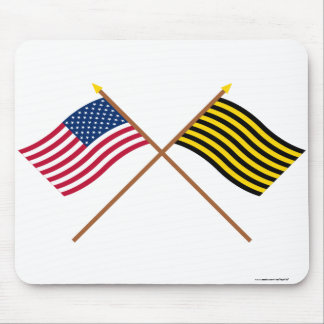 Crossed US and Brigantine Reprisal Flags Mouse Pad