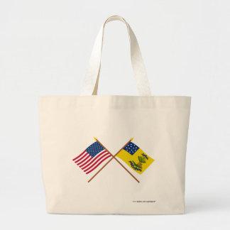Crossed US and Bucks of America Flags Tote Bags