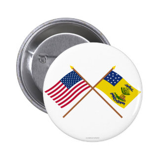 Crossed US and Bucks of America Flags Pinback Buttons