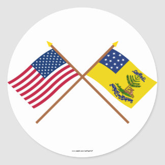 Crossed US and Bucks of America Flags Classic Round Sticker