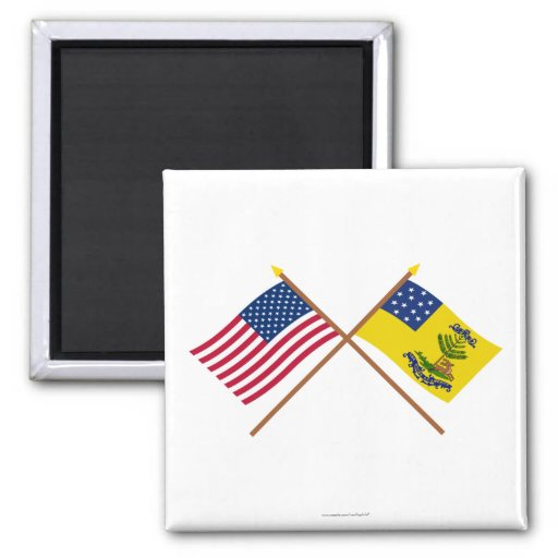 Crossed US and Bucks of America Flags Refrigerator Magnets