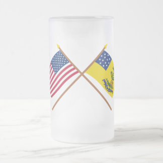 Crossed US and Bucks of America Flags 16 Oz Frosted Glass Beer Mug