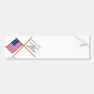 Crossed US and Culpeper Flags Car Bumper Sticker