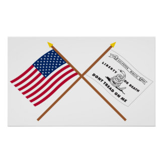 Crossed US and Culpeper Flags Print