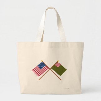 Crossed US and Delaware Militia Flags Canvas Bag
