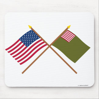 Crossed US and Delaware Militia Flags Mouse Pad